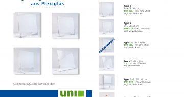 UNI-Bausysteme - Schutzwände aus Plexiglas 2-Seiter